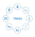 8 trees icons vector image vector image