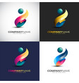 abstract 3d people logo template for your company vector image vector image