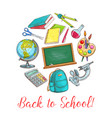 back to school poster with supplies vector image