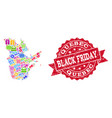 black friday composition of mosaic map of quebec vector image vector image