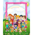 Border design with family members in the park vector image