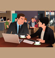 business people eating together in the cafeteria vector image