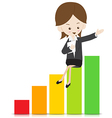 Business woman with growing graph 02 vector image vector image