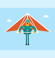 caucasian white man flying on hang-glider vector image vector image
