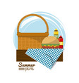 colorful logo summer picnic with picnic basket on vector image vector image