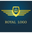 crown with wings emblem vector image vector image
