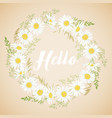 cute card with chamomile flowers wreath vector image vector image