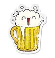 distressed sticker of a happy cartoon mug of beer