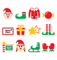 elf christmas icons set - north pole vector image