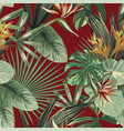 exotic flowers tropical green leaves seamless red vector image vector image