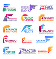 f letter corporate identity business icons vector image vector image
