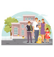 family near the house vector image vector image