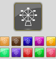 Ferris wheel icon sign Set with eleven colored vector image