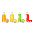 glass juice bottles set vector image vector image