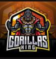 gorilla king esport mascot logo desain vector image vector image