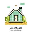 greenhouse line color icon vector image