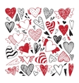 Hand drawn set of tribal hearts vector image