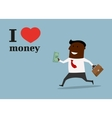 Happy black businessman in love money concept vector image vector image