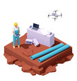 isometric drone survey at construction site vector image