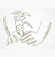 line art of hands planting the tree vector image