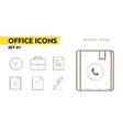 Line icons with flat design elements of office vector image vector image
