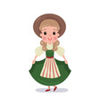 little girl wearing traditional costume of vector image vector image