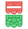 mexican papel picado template design set vector image vector image