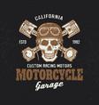motorcycle garage biker vintage emblem with skull vector image vector image