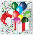 Open gift box with balloons vector image vector image