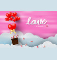 Paper art and craft of valentine day with balloon