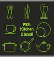 pixel art outline kitchen utensil icons vector image
