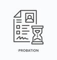 probation flat line icon outline vector image vector image