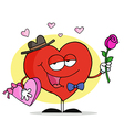 Romantic Red Heart Holding Roses And Candy vector image