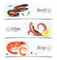 seafood realistic horizontal banners vector image vector image
