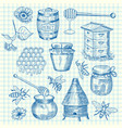 set of hand drawn honey elements on cell vector image