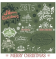 Set of Merry Christmas headlines on green vector image