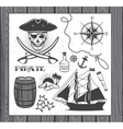 Set of vintage pirate elements vector image vector image