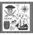 set vintage pirate elements vector image