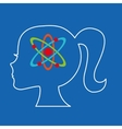 silhouette head girl student chemistry vector image