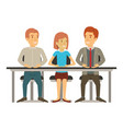 white background with teamwork of woman and men vector image
