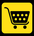 yellow black information sign shopping cart icon vector image vector image