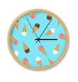 clock with ice cream pattern vector image