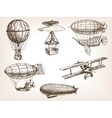 Air transport vintage hand drawn sketch vector image vector image
