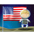 An explorer beside the flag of America vector image vector image