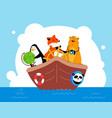 animals traveling together flat design style vector image vector image