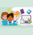 back to school characters students computer clock vector image vector image