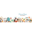 banner with traveling and tourism elements vector image
