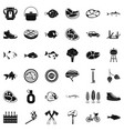 bbq relaxation icons set simple style vector image vector image