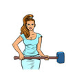 beautiful strong woman with a hammer feminism vector image vector image
