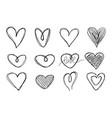 big set hand-drawn hearts vector image